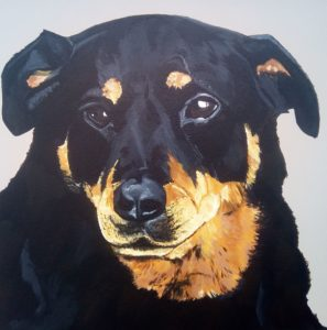 huisdier portret acryl op canvas